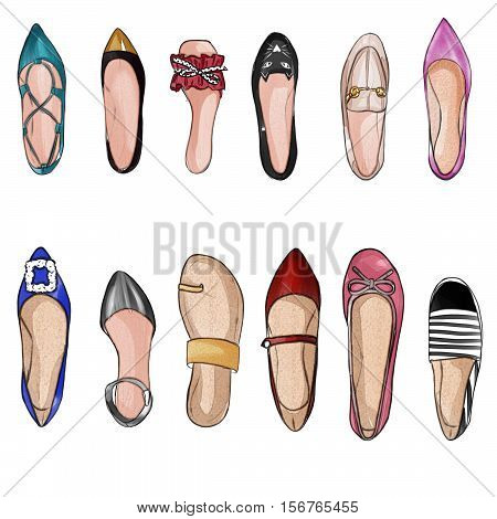 Hand drawn Watercolor illustration - collection set of watercolor shoes