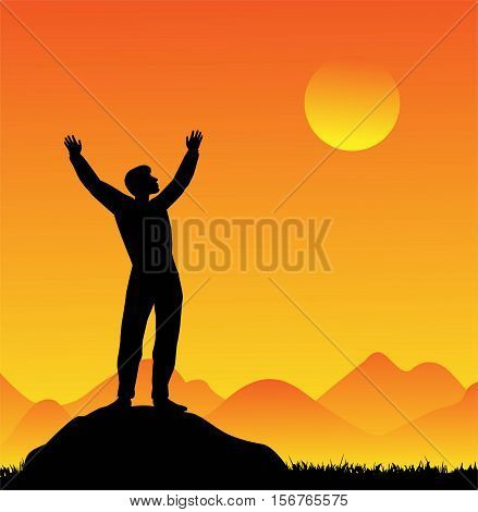 vector illustration of silhouette of man at sunset
