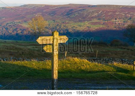 Uk Footpath Finger Post Catching Sun