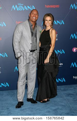 LOS ANGELES - NOV 14:  Dwayne Johnson, Lauren Hashian at the