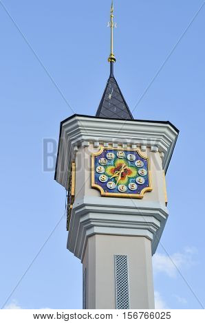 Clock tower of Kiev Academic Puppet Theater in Kiev, Ukraine.