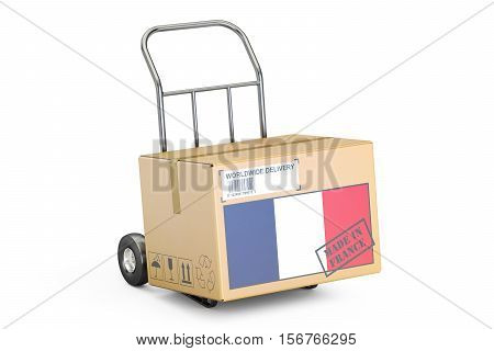Made in France concept. Cardboard Box on Hand Truck 3D rendering isolated on white background