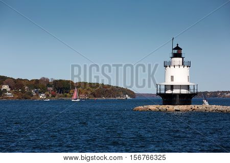 Spring Point Ledge Lighthouse is located in South Portland Maine.