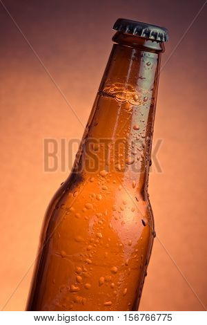 Fresh Cold Beer Ale Bottle With Drops And Stopper