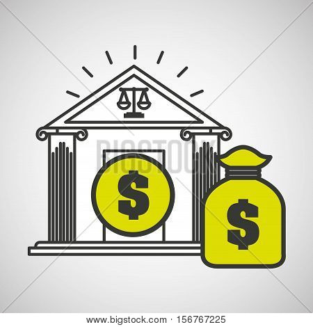 justice bulding bag money icon graphic vector illustration eps 10