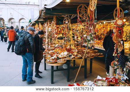 SALBURG AUSTRIA - DECEMBER 25: Salzburg christmas market on December 25 2015 in Salzburg Austria. Christmas in Europe.