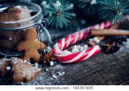 Christmas homemade gingerbread man cookies and red candy cane on old wooden table with fir tree. Christmas treats concept. Christmas moody style background. Selective focus. Copy space. Toned image.
