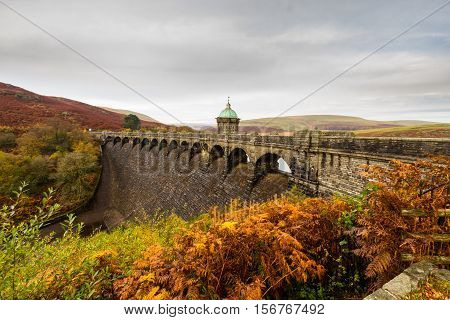 The Craig Goch Reservoir and Dam part of the Elan Valley Reservoirs. Powys Wales United Kingdom.