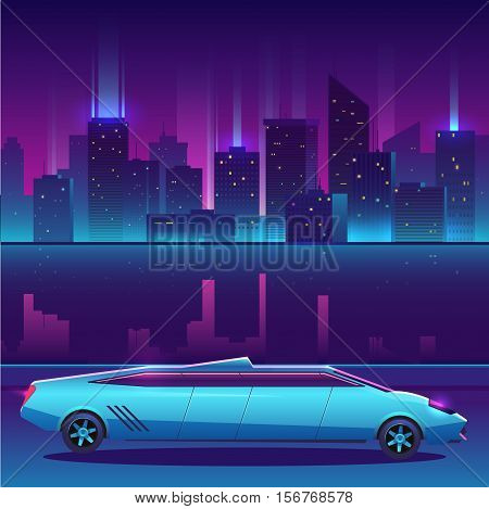 Limousine vector in front of night city urban landscape, luxury metropolis concept. Vip car and City reflected in the river. View of the embankment. Night city background