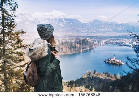 Hiking Young Woman With Alps Mountains And Alpine Lake On Background.