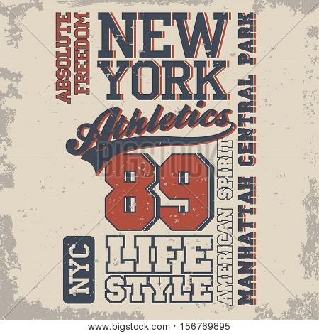 New York Sport Typography, University Athletic Dept. T-shirt graphics, Vintage Print for sportswear apparel. vector