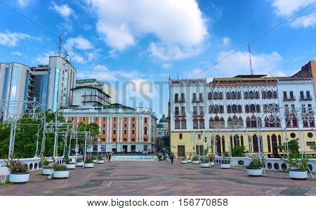 CALI COLOMBIA - JUNE 11: View of a park in downtown Cali Colombia on June 11 2016