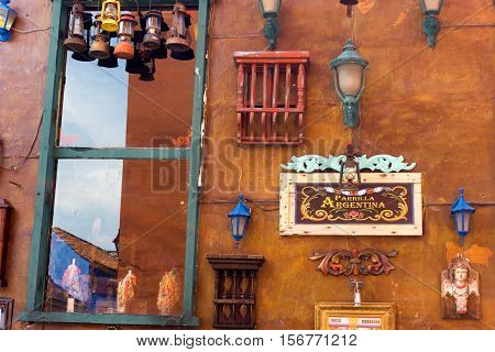 CARTAGENA COLOMBIA - MAY 23: Details outside of an Argentinean restaurant in Cartagena Colombia May 23 2016