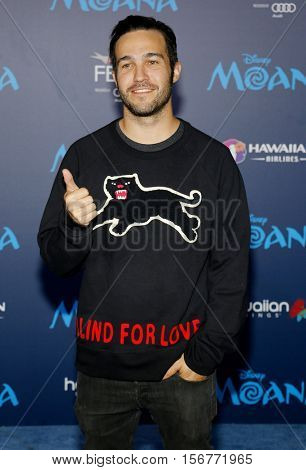 Pete Wentz at the AFI FEST 2016 Premiere of 'Moana' held at the El Capitan Theatre in Hollywood, USA on November 14, 2016.