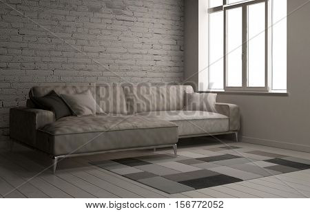 3D rendering interior scene with large comfy sofa in room and painted white brick wall with carpet and window