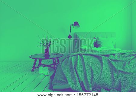 3D render of unmade bed in room with blank wall and candles on hardwood white colored floor