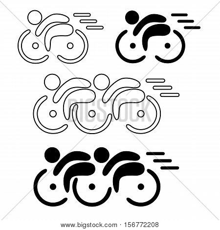Stylised Bicycles and men line logo vector design.