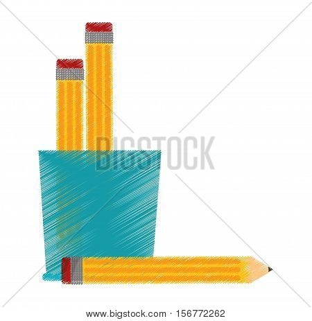 mug and pencil tool icon. Write office object and instrument theme. Isolated design. Vector illustration