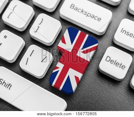 Enter Key Button With Flag Of Great Britan.