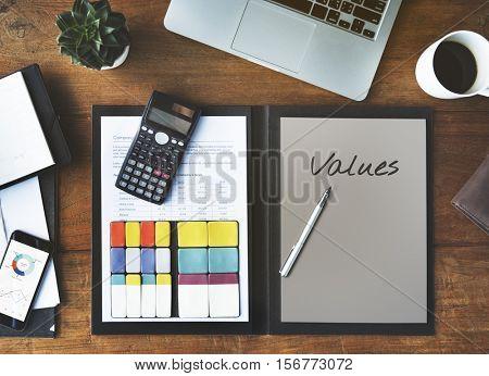 Values Cost Price Vision Strategic Concept