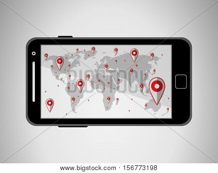 Flat Black Modern Mobile Phone With Navigator Program Isolated. Vector Illustration