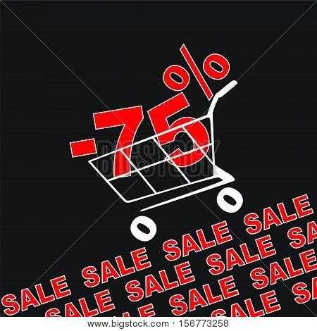 Big sale 75 percentage discount . Vector illustration