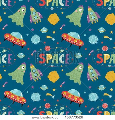 Space aliens cartoon seamless pattern. Funny one eye jelly creature, flying saucer, spaceship, stars, solar system planets, comets, moon, letters collage text vector illustrations on blue background