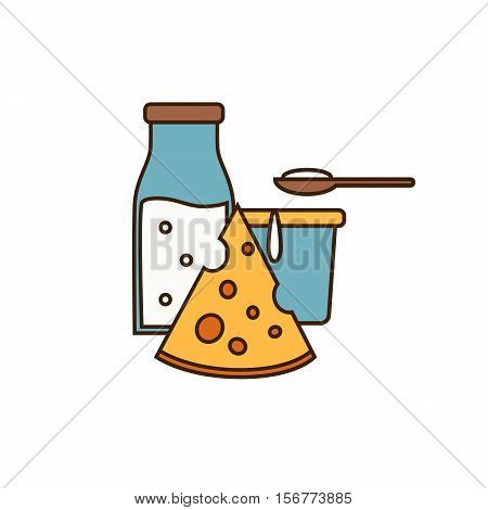 Dairy icon in line style design with yoghurt, cheese and glass bottle with milk, isolated vector illustration. Traditional and healthy products. Organic farming. Natural and healthy food