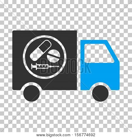 Drugstore Truck EPS vector icon. Illustration style is flat iconic bicolor blue and gray symbol on chess transparent background.