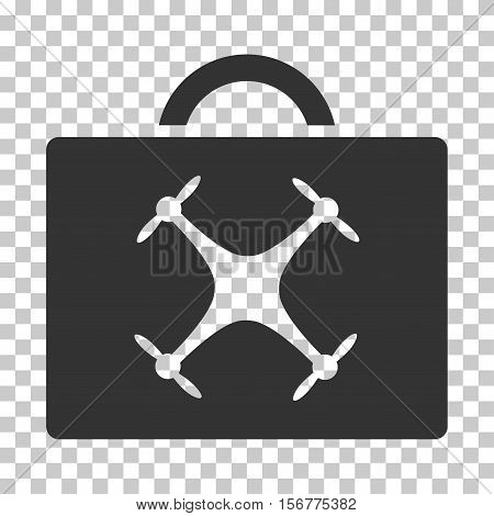 Drone Toolbox EPS vector icon. Illustration style is flat iconic gray symbol on chess transparent background.