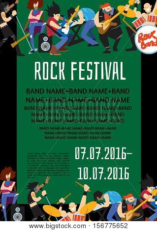 Rock fest banner with music group. Music party invitation. Concept of artistic people vector illustration. Singer, guitarist, drummer, keyboardist and bassist characters. Rock star. Festival poster