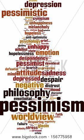 Pessimism word cloud concept. Vector illustration on white
