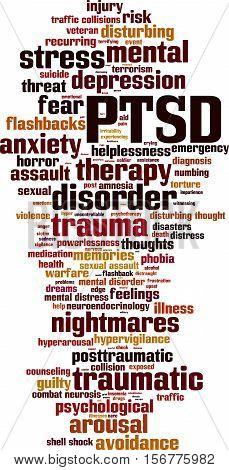 PTSD word cloud concept. Vector illustration on white