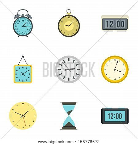 Chronometer icons set. Flat illustration of 9 chronometer vector icons for web