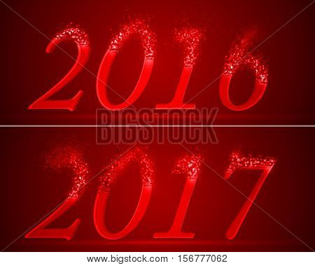dissolving numbers of years 2016 and 2017. red version.
