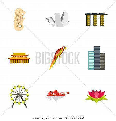 Country Singapore icons set. Flat illustration of 9 country Singapore vector icons for web