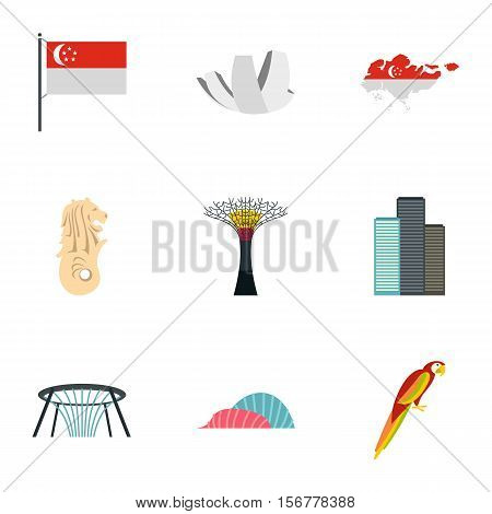 Attractions of Singapore icons set. Flat illustration of 9 attractions of Singapore vector icons for web