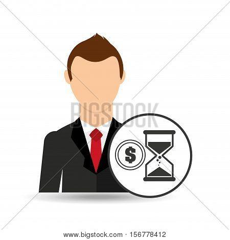 cartoon business man sand clock money design vector illustration eps 10