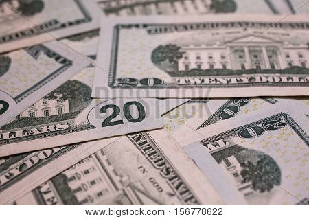 background of the money 20 dollar bills downside back side. background of dollars close-up