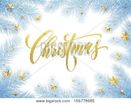 Christmas gold foil greeting card. Christmas horizontal poster template with pine and fir christmas tree branches, golden stars, balls, ornament decorations. Calligraphy lettering text