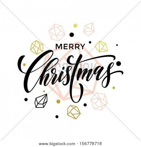 Trend Merry Christmas gold glitter geometric gem crystal ornaments decoration. Christmas greeting modern trend card, poster lettering design. Vector golden glittering christmas balls on background