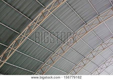 Metal Framework Of The Roof Of Industrial Building, Inside View