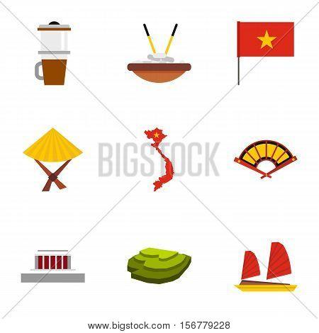 Tourism in Vietnam icons set. Flat illustration of 9 tourism in Vietnam vector icons for web