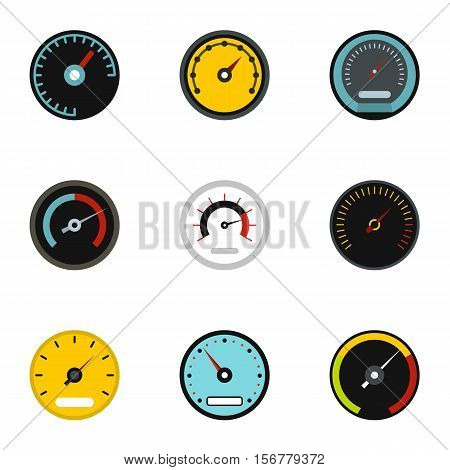 Engine speedometer icons set. Flat illustration of 9 engine speedometer vector icons for web