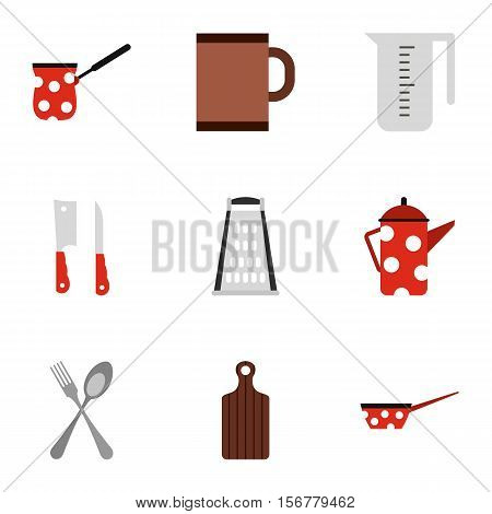 Kitchenware icons set. Flat illustration of 9 kitchenware vector icons for web