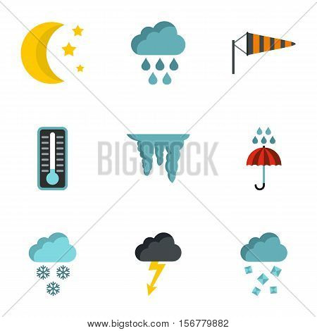 Weather outside icons set. Flat illustration of 9 weather outside vector icons for web
