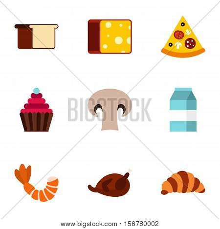 Food in morning icons set. Flat illustration of 9 food in morning vector icons for web