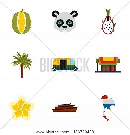 Holiday in Thailand icons set. Flat illustration of 9 holiday in Thailand vector icons for web