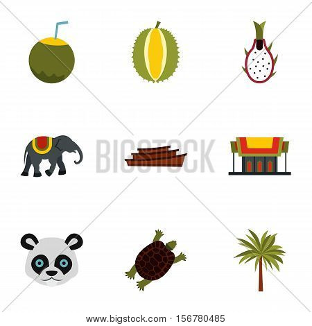 Tourism in Thailand icons set. Flat illustration of 9 tourism in Thailand vector icons for web
