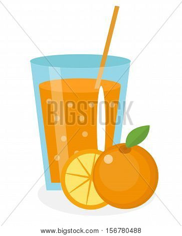 Orange juice, orangeade, in a glass. Fresh orange juice isolated on white background. Fresh fruit and juice icon. Orange drink, fruit compote. Orange cocktail. Vector illustration